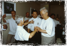 Professor Yu and Master Lam teach a group of European students in Beijing