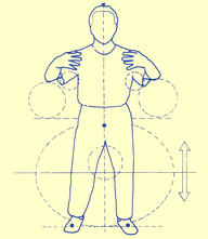 Balance diagramm of a basic Zhan Zhuang position